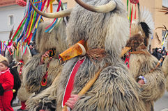 Traditional carnival with traditional figures, known as kurent,. Ptuj, Slovenia - February 7, 2016 - Traditional carnival on shrove sunday with traditional Stock Photography