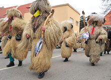 Traditional carnival with traditional figures, known as kurent, Royalty Free Stock Images