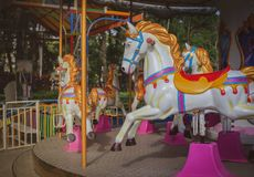 Carousel Horse. Traditional Carousel Horse on a Carnival Merry Go Round Stock Photo