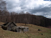 Traditional carpathian cottage house. A traditional carpathian old cottage house used lived from the spring till the autumn by the villagers who grow animals Stock Image