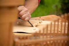 Traditional carpenter close up working hands with carpeting tools. royalty free stock image