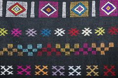 Traditional carpet pattern of Black Miao Hmong minority cloth, Sapa, Vietnam. royalty free stock photo