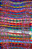 Traditional carpets, La Paz, Bolivia. Pile of colourful hand-crafted carpets Stock Photo