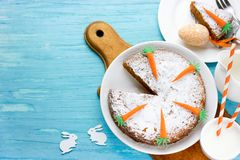 Traditional carrot cake decorated for Easter Stock Image