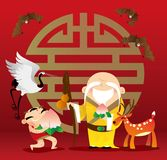 Traditional cartoon Chinese God of Longevity, Lucky Boy and the symbolic animals. Vector illustration of traditional cartoon Chinese God of Longevity, Lucky Boy Stock Images