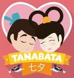 Traditional Cartoon Poster for Tanabata Festival, Vector Illustration Royalty Free Stock Photos