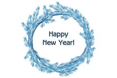 Traditional vector blue wreath spruce Happy New Year Royalty Free Stock Photos