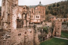 Traditional castle in Germany located at the top of the hill. Traditional castle ruins in Germany View on the Heidelberg located at the top of the hill stock photo