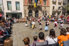 Catalan children traditional dancing festival Stock Image