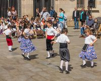 Catalan children traditional dancing festival Stock Photo