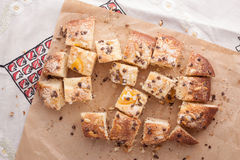 Traditional Catalan chocolate and candied orange brioche Royalty Free Stock Images