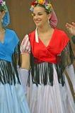 Traditional Catalan Dancers. EVOLENE, SWITZERLAND - AUGUST 14: Catalan dancers from Rubi in traditional costumes: August 14, 2017 in Evolene, Switzerland royalty free stock photo