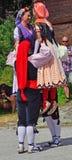 Traditional Catalan Dancers. EVOLENE, SWITZERLAND - AUGUST 14: Catalan dancers from Rubi in traditional costumes:  August  14, 2017 in Evolene, Switzerland Royalty Free Stock Photography