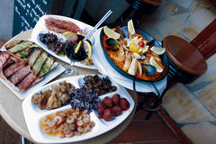 Traditional Catalonia paella, seafood and sangria Stock Photo