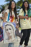 Two teenage girls joining the Ati-atihan festival on Boracay Island stock photos