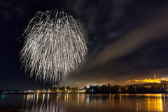 Traditional celebration and fireworks in Belgrade Stock Image