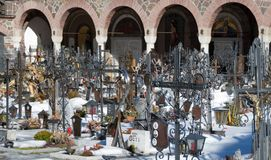 Traditional cemetery at Innichen Stock Photos