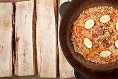 traditional central asia pilaf in kazan Stock Image