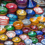 Traditional ceramic bowls of Marrakesh Stock Photography