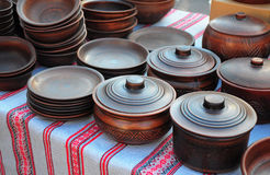 Traditional Ceramic Jugs on Decorative Towel. Showcase of Handma Stock Image