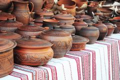 Handmade pottery. Traditional Ceramic Jugs. Handmade Ceramic Pottery with Ceramic Pots and Clay Plates. Traditional Ceramic Jugs. Handmade Ceramic Pottery with Royalty Free Stock Photo