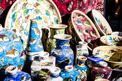 Traditional ceramic in local Israel market. Stock Photo