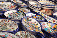 Traditional ceramic in local Israel market. Royalty Free Stock Images