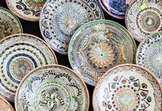 Traditional ceramic plates exposed to a fair Stock Image