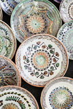 Traditional ceramic plates exposed to a fair Stock Photography