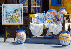 Traditional ceramic souvenirs in Oia town of santoriny island Stock Photos
