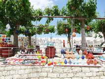 Traditional ceramic souvenirs shop Crete Greece Stock Photos