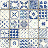 Traditional Ceramic 02 Vintage 2D. Indigo Blue Tiles Floor Ornament Collection. Gorgeous Seamless Patchwork Pattern from Colorful Traditional Painted Tin Glazed Royalty Free Stock Photo