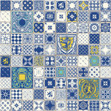 Traditional Ceramic 03 Vintage 2D. Indigo Blue Tiles Floor Ornament Collection. Gorgeous Seamless Patchwork Pattern from Colorful Traditional Painted Tin Glazed Royalty Free Stock Photo