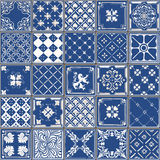 Traditional Ceramic 04 Vintage 2D. Indigo Blue Tiles Floor Ornament Collection. Gorgeous Seamless Patchwork Pattern from Colorful Traditional Painted Tin Glazed Stock Photography