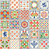 Traditional Ceramic 06 Vintage 2D. Indigo Blue Tiles Floor Ornament Collection. Gorgeous Seamless Patchwork Pattern from Colorful Traditional Painted Tin Glazed Royalty Free Stock Images