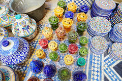 Traditional ceramics on Moroccan market Royalty Free Stock Photos