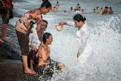 Traditional ceremony in Bali called Melukat. Royalty Free Stock Photography