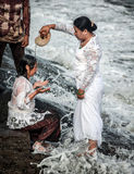 Traditional ceremony in Bali called Melukat. Stock Images