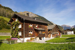 Traditional chalet in Alps regions. Traditional wood chalet in Alps regions Stock Images