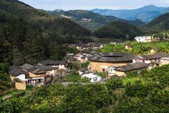 Hakka Earth Buildings in chinese village stock images