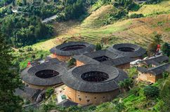 Hakka Earth Buildings in chinese village stock photos