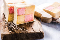 Traditional check Battenberg cake Royalty Free Stock Image