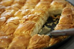 Traditional Cheese Pie. Greek Cheese pie close up cut in pieces Royalty Free Stock Photography