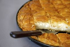 Traditional Cheese pie. Traditional greek Cheese pie ready to be served Royalty Free Stock Photos