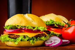 Traditional cheeseburger Stock Image