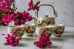 Traditional Japanese tea set filled with green tea and fresh red cheery blossom against white marble back. Traditional cherry blossom decorated Japanese tea set stock photos