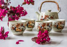 Traditional Japanese tea set filled with green tea and fresh red cheery blossom against white marble back. Traditional cherry blossom decorated Japanese tea set stock photo