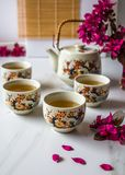 Traditional Japanese tea set filled with green tea and fresh red cheery blossom against white marble back. Traditional cherry blossom decorated Japanese tea set royalty free stock photography