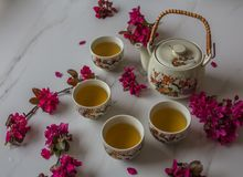 Traditional Japanese tea set filled with green tea and fresh red cheery blossom against white marble back. Traditional cherry blossom decorated Japanese tea set royalty free stock photo