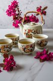 Traditional Japanese tea set filled with green tea and fresh red cheery blossom against white marble back. Traditional cherry blossom decorated Japanese tea set royalty free stock images